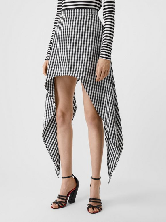 Scarf-tie Detail Gingham Technical Wool Mini Skirt in Black - Women | Burberry - cell image 1