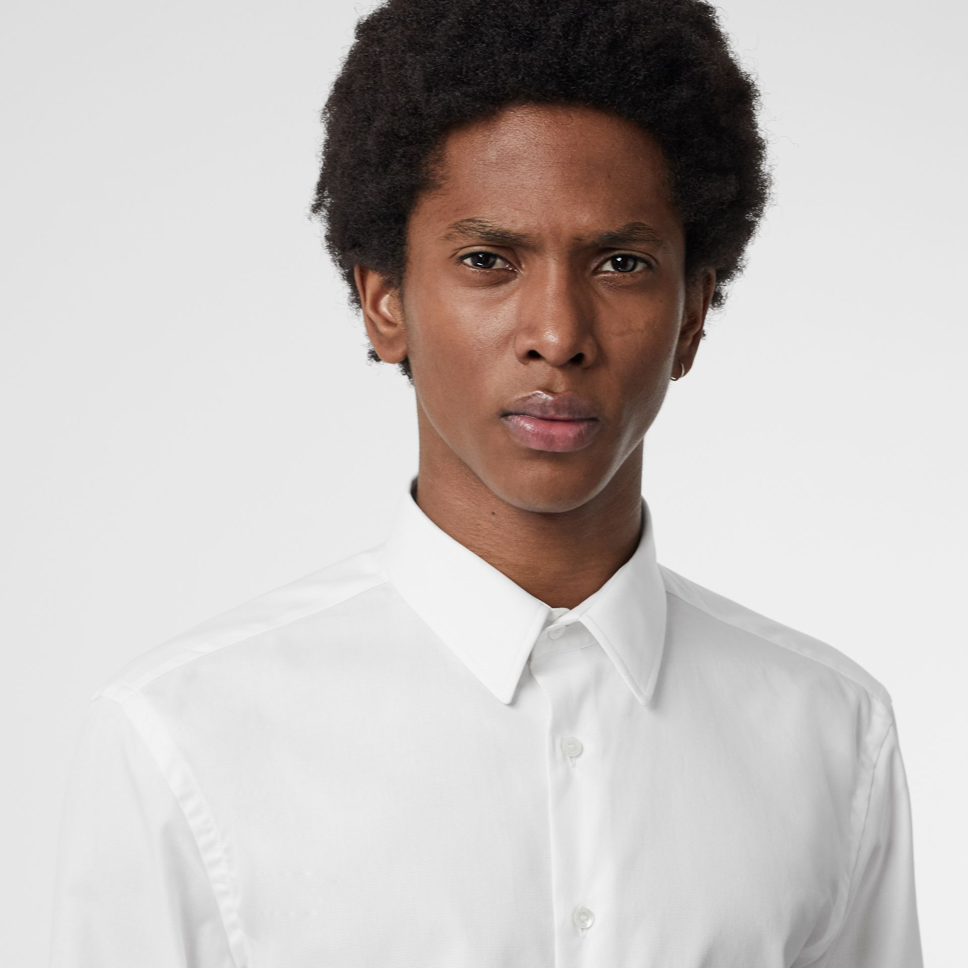 Modern Fit Cotton Shirt in White - Men | Burberry Singapore - gallery image 1