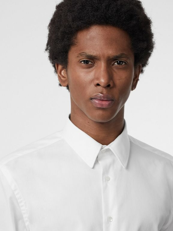 Modern Fit Cotton Shirt in White - Men | Burberry Singapore - cell image 1