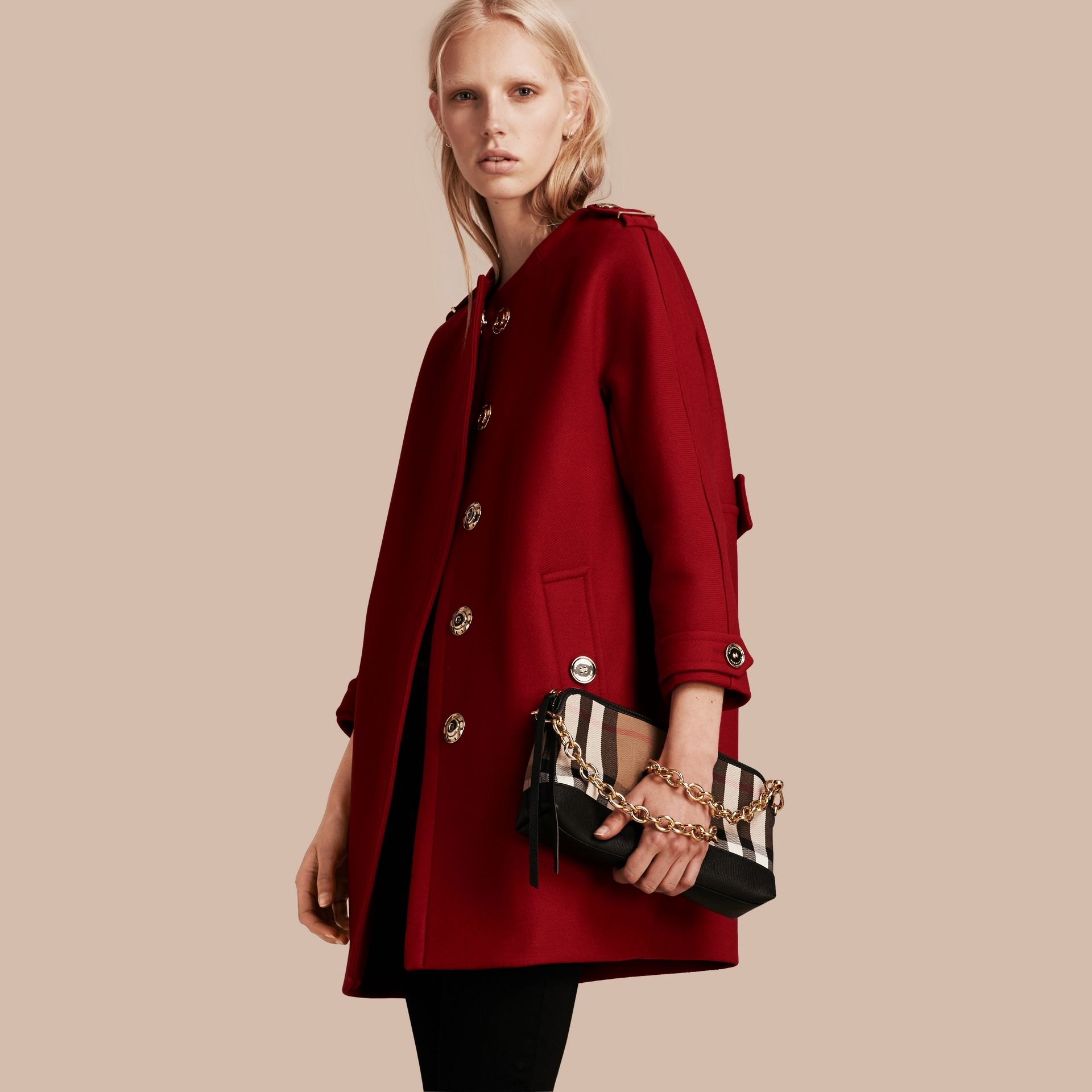 Parade red Technical Wool Cashmere Collarless Coat Parade Red - gallery image 1