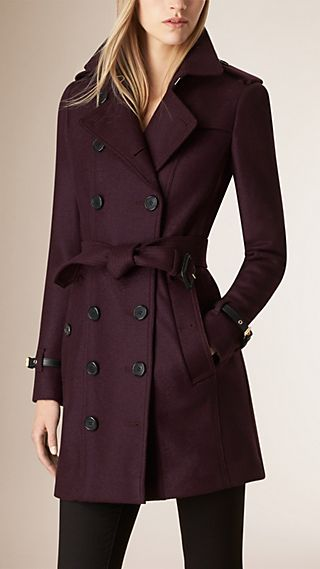Leather Trim Virgin Wool Trench Coat