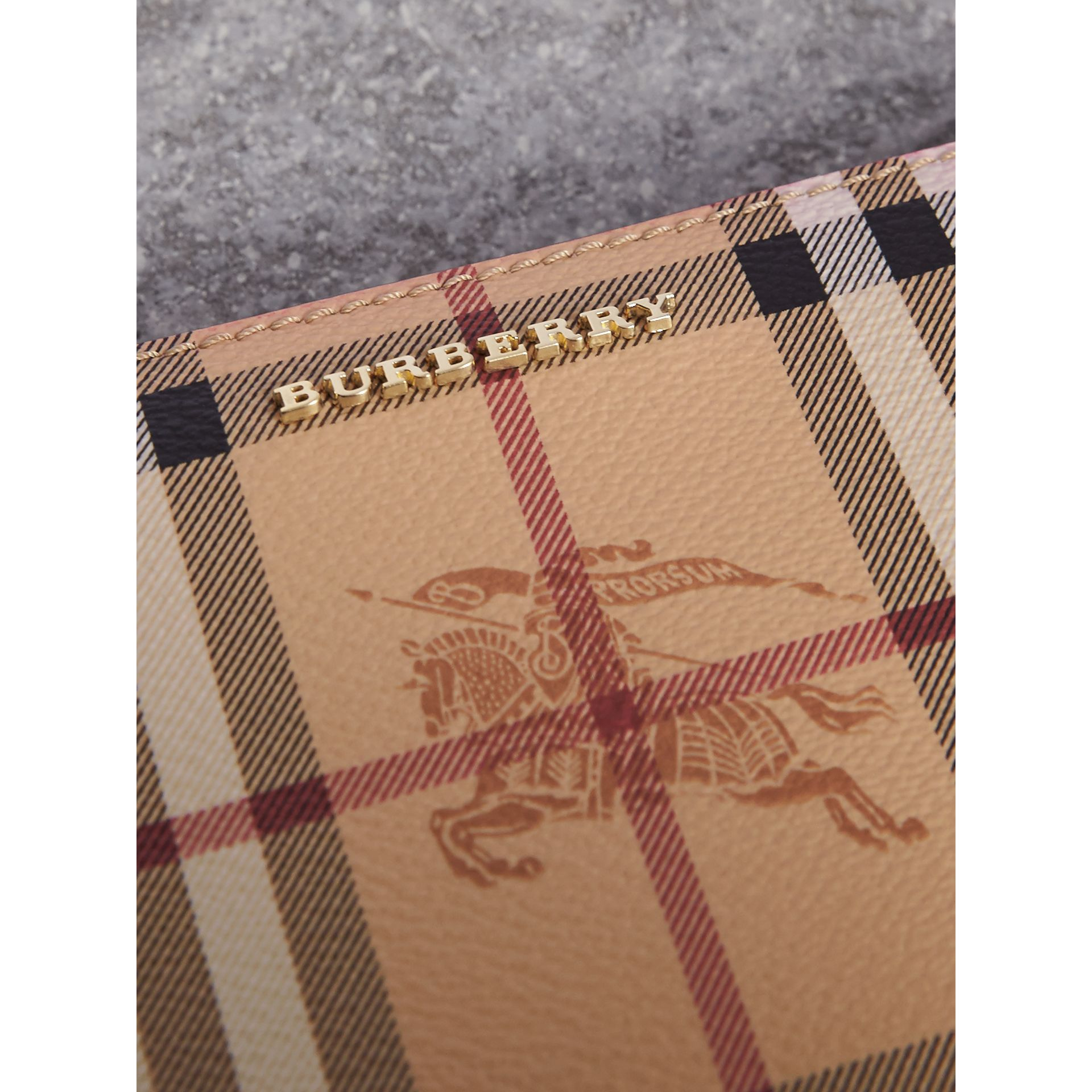 Haymarket Check and Leather Ziparound Wallet in Coral Red - Women | Burberry - gallery image 1