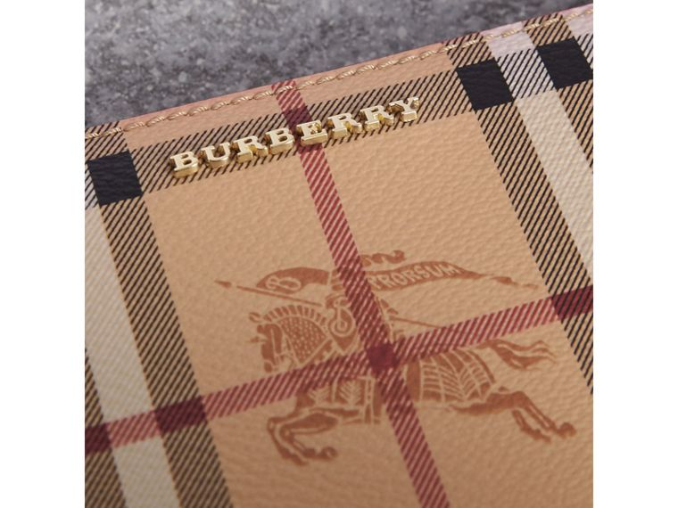 Haymarket Check and Leather Ziparound Wallet in Coral Red - Women | Burberry - cell image 1