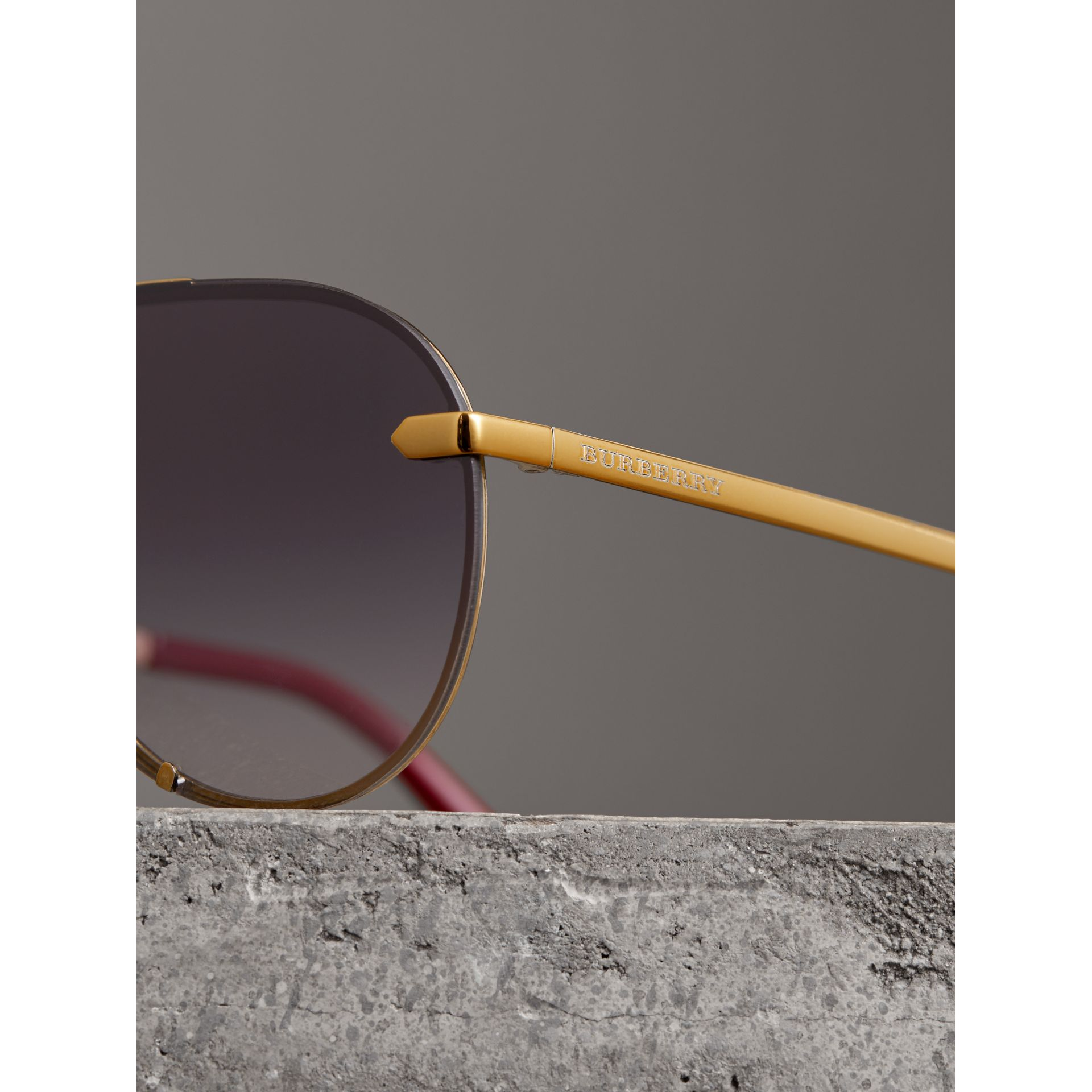 Check Detail Pilot Sunglasses in Purple - Women | Burberry - gallery image 1