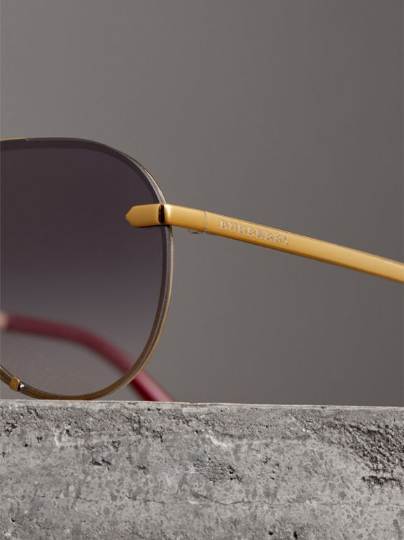 Check Detail Pilot Sunglasses in Purple - Women | Burberry - cell image 1