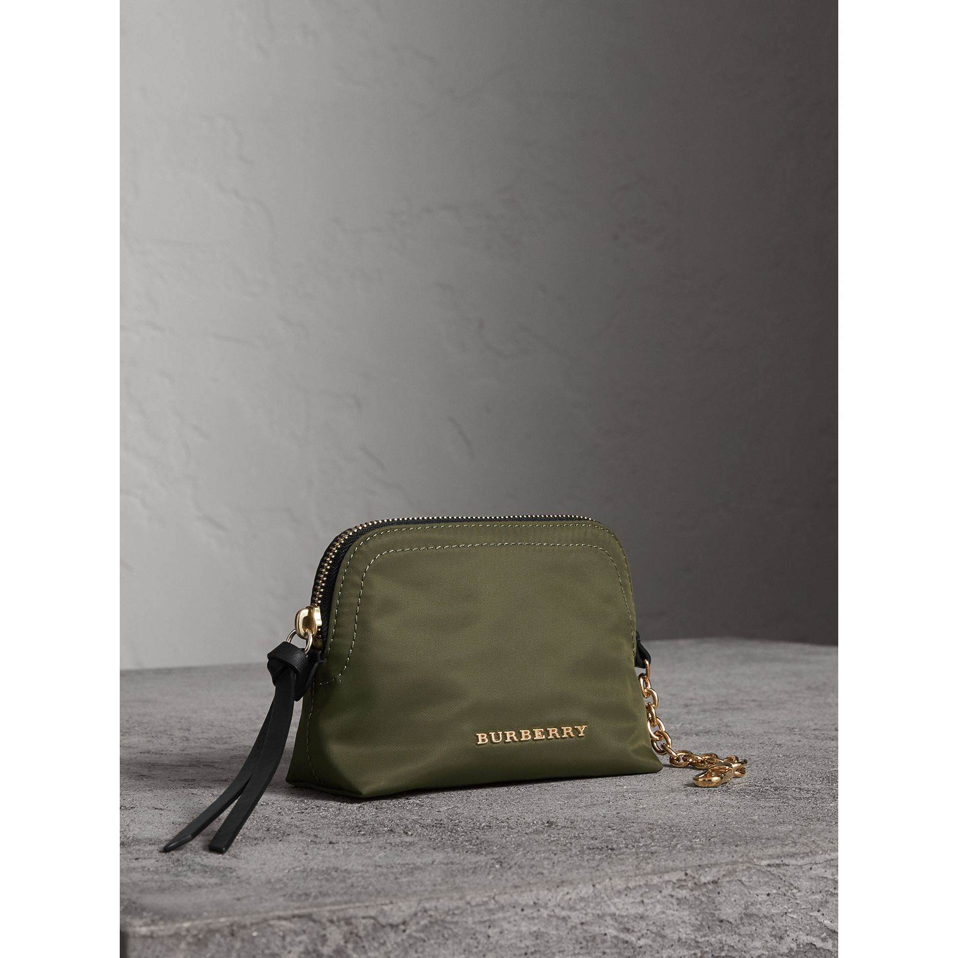 Small Zip-top Technical Nylon Pouch in Canvas Green - Women | Burberry - gallery image 5