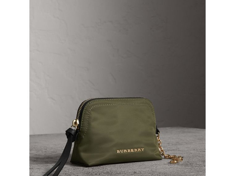 Small Zip-top Technical Nylon Pouch in Canvas Green - Women | Burberry - cell image 4