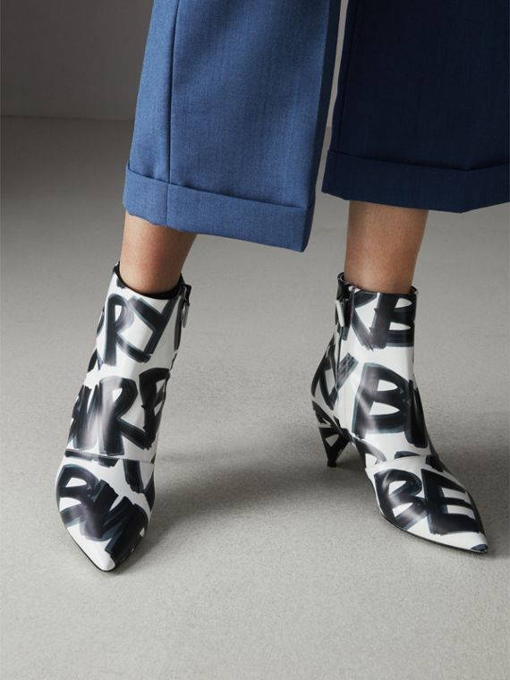 Graffiti Print Leather Ankle Boots in Optic White - Women | Burberry - cell image 2