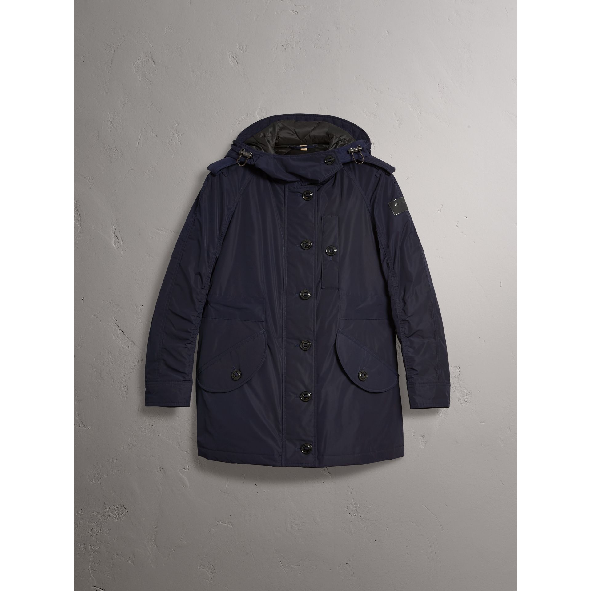 Technical Taffeta Hooded Parka in Navy - Women | Burberry Australia - gallery image 4