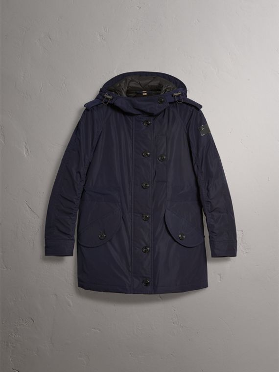 Technical Taffeta Hooded Parka in Navy - Women | Burberry - cell image 3