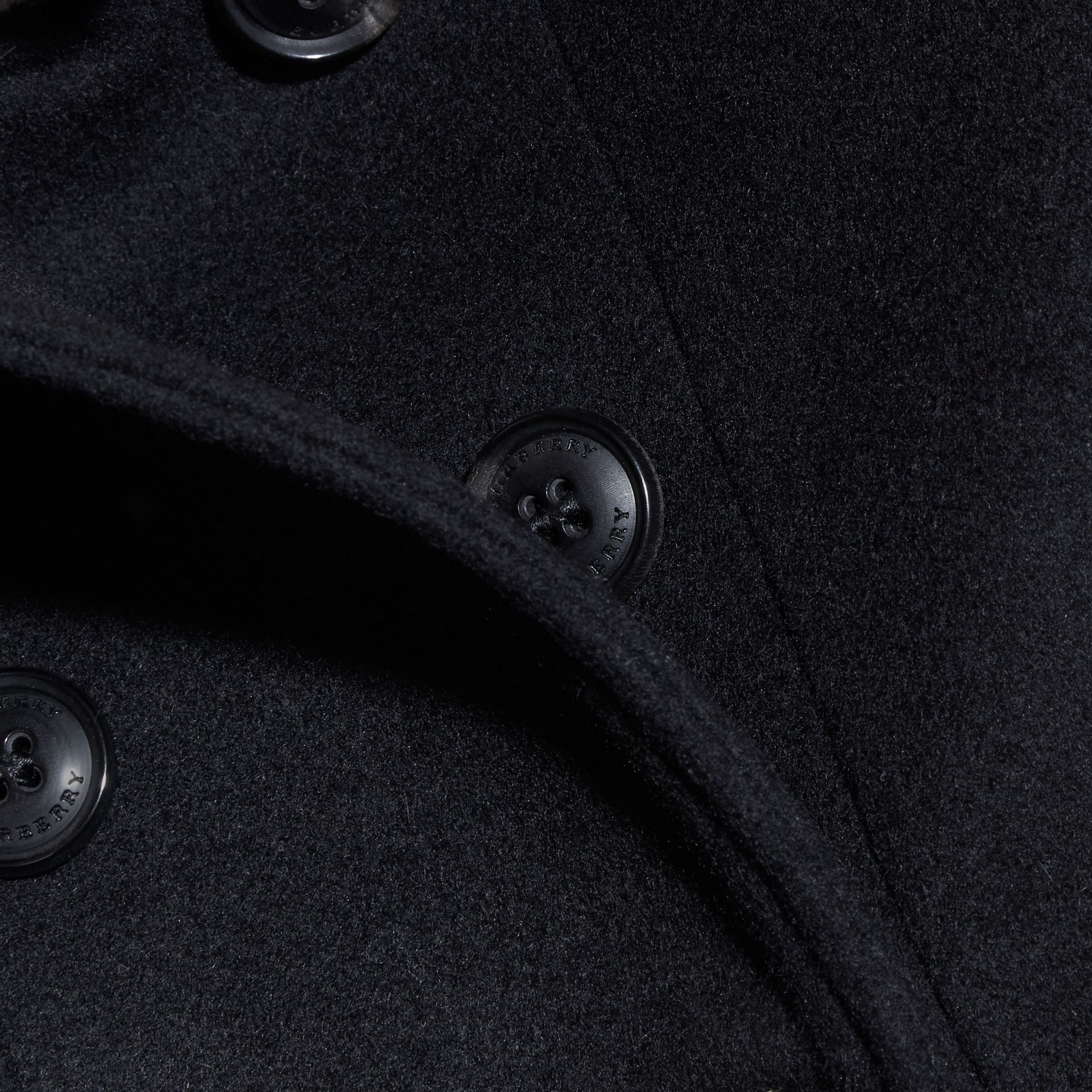Black Cashmere Military Coat Black - gallery image 2