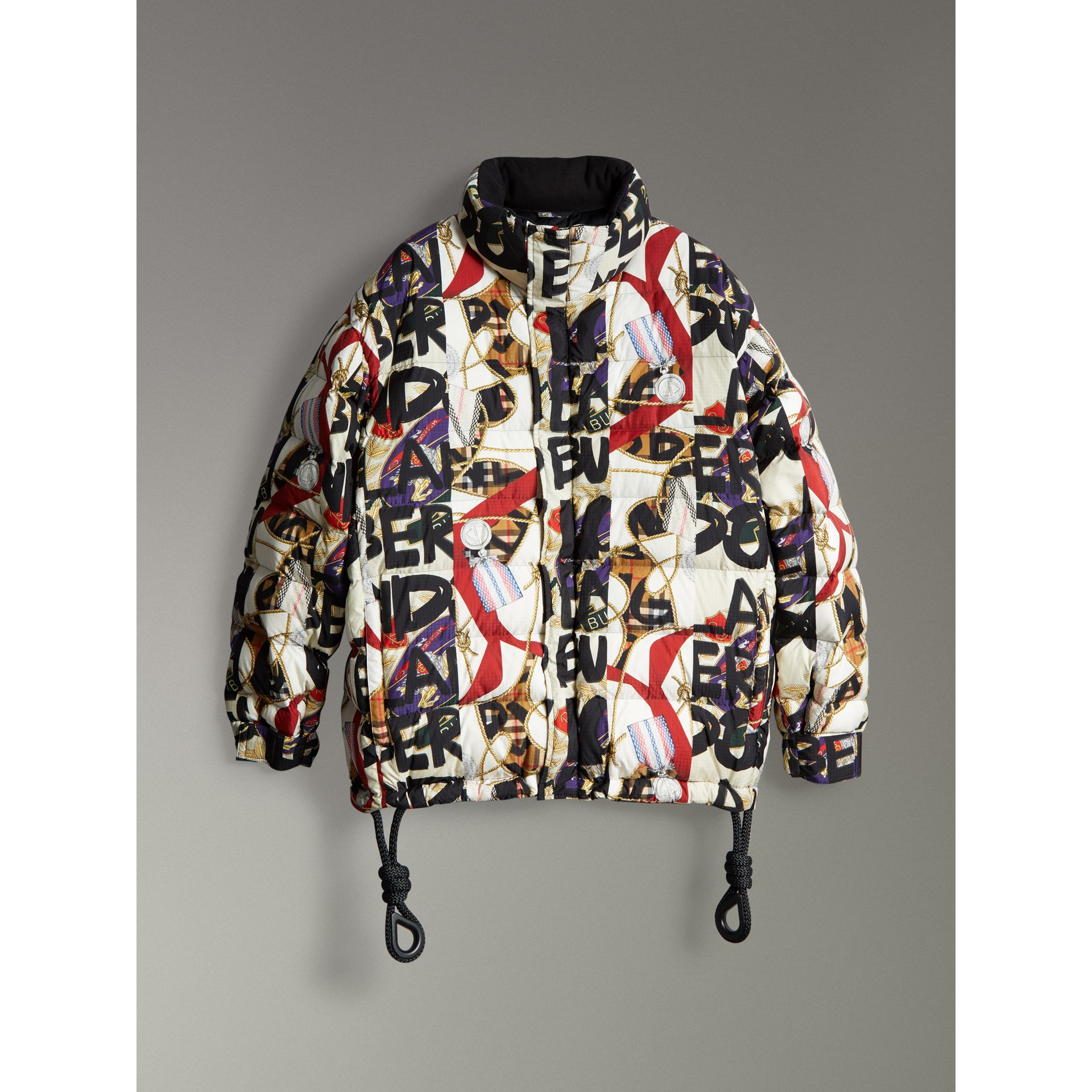 Graffiti Archive Scarf Print Down-filled Puffer Jacket in Stone - Men | Burberry United Kingdom - gallery image 3