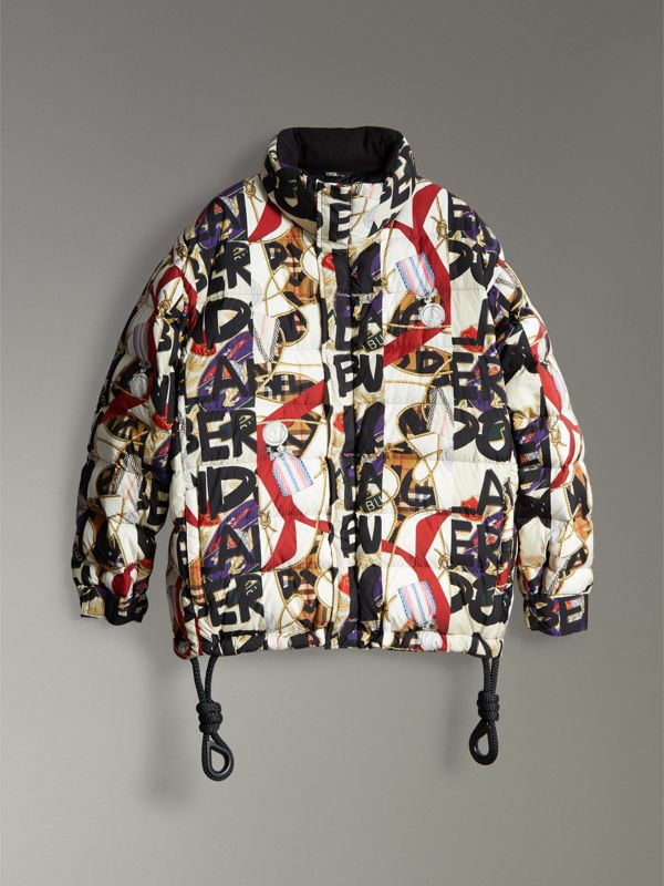 Graffiti Archive Scarf Print Down-filled Puffer Jacket in Stone - Men | Burberry - cell image 3