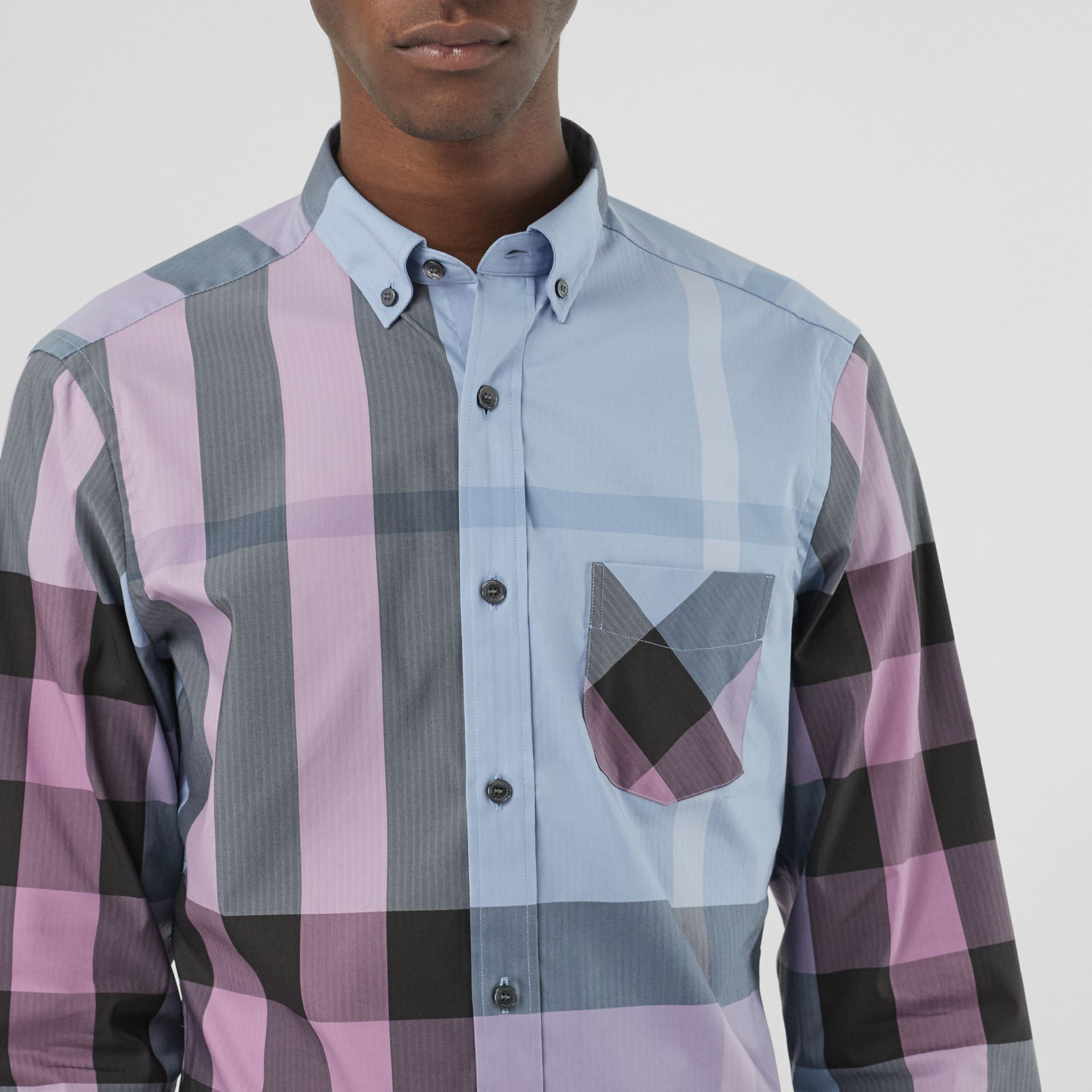 Button-down Collar Check Stretch Cotton Blend Shirt in Chalk Blue - Men | Burberry United States - gallery image 1