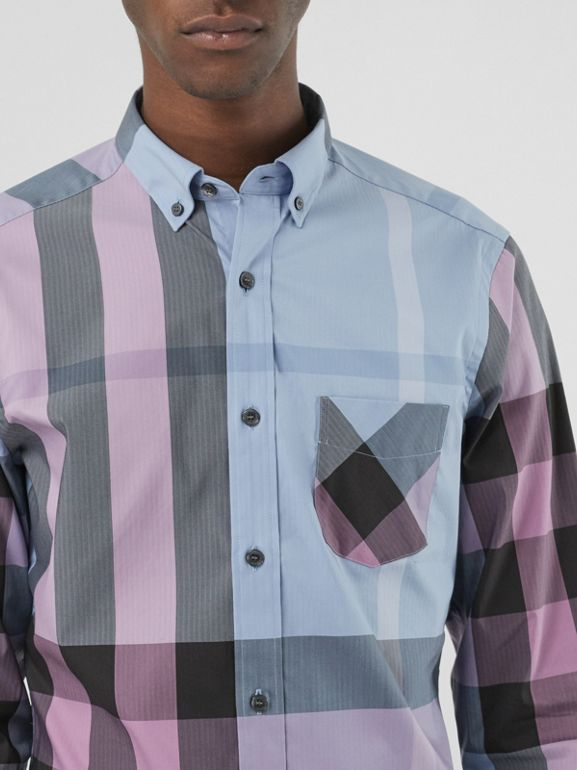 Button-down Collar Check Stretch Cotton Blend Shirt in Chalk Blue - Men | Burberry United States - cell image 1