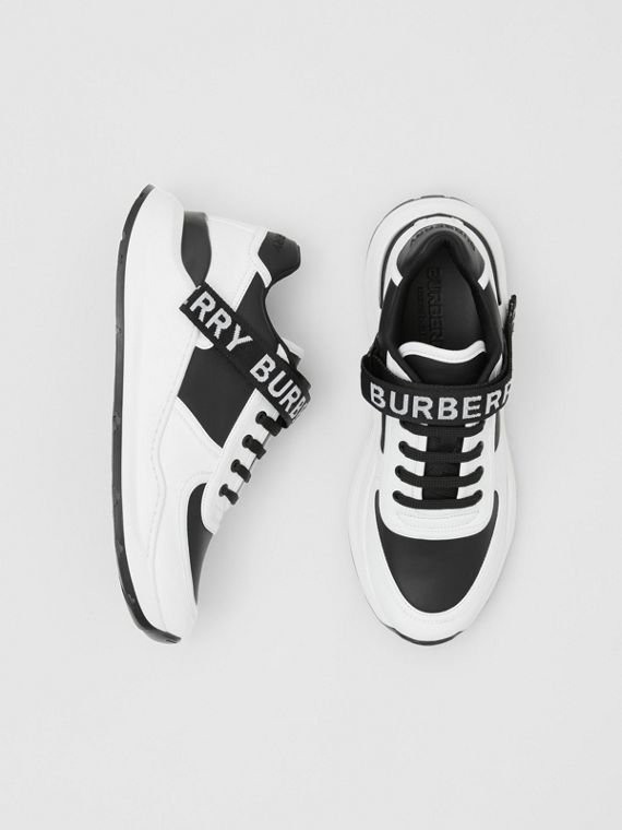 Logo Detail Leather and Nylon Sneakers in Black/optic White