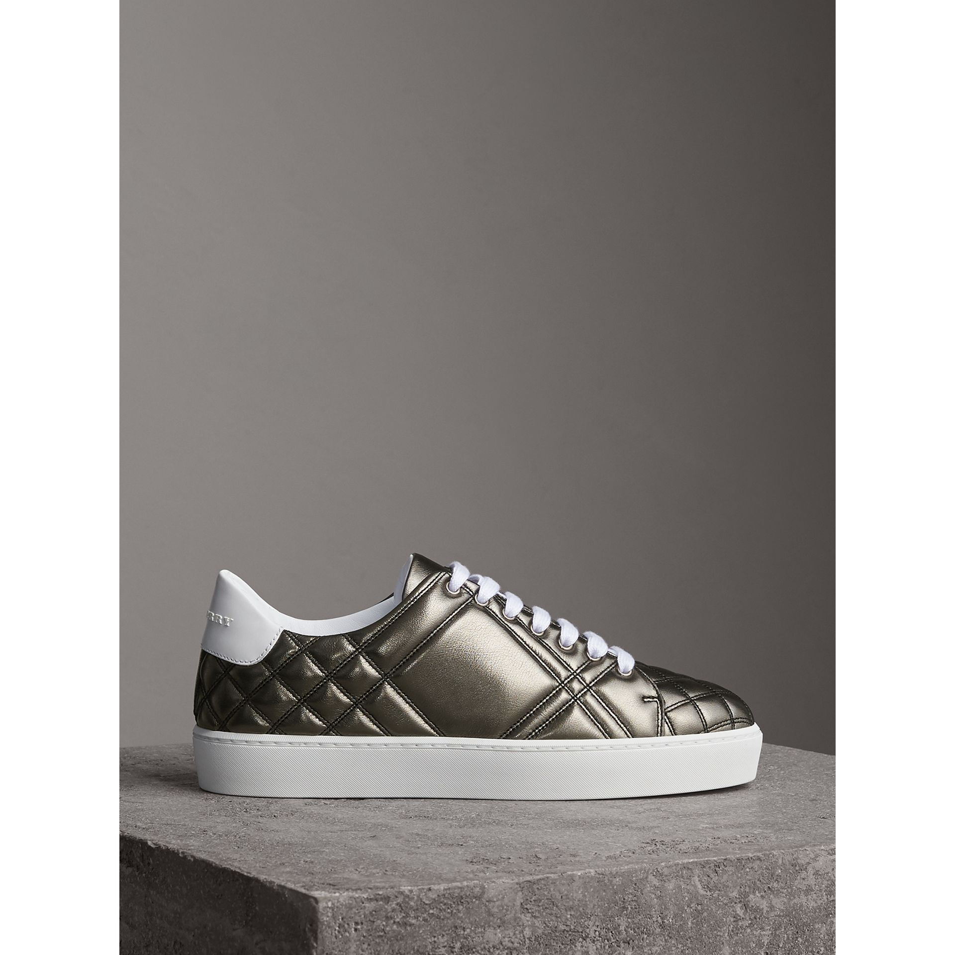 Metallic Check-quilted Leather Sneakers in Dark Nickel - Women | Burberry Australia - gallery image 4