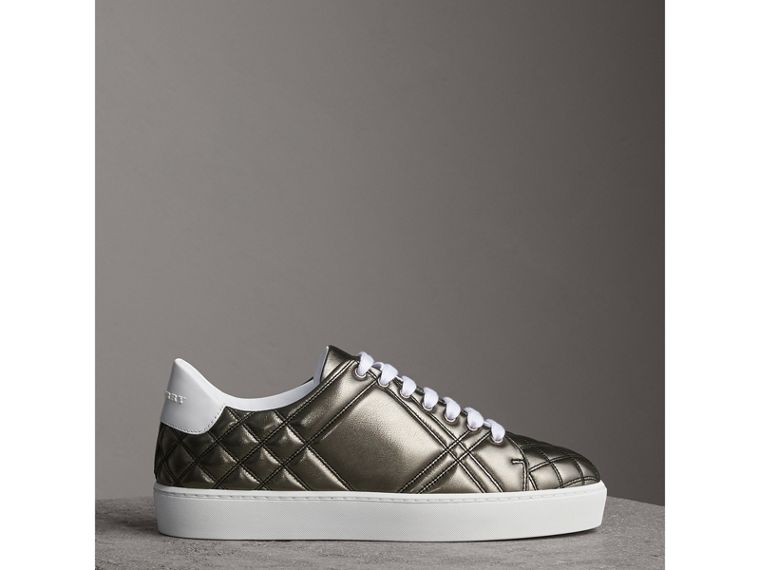 Metallic Check-quilted Leather Sneakers in Dark Nickel - Women | Burberry Australia - cell image 4