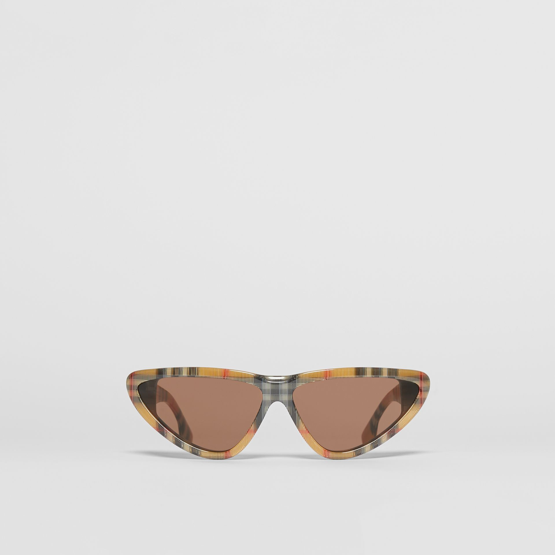 Vintage Check Triangular Frame Sunglasses in Antique Yellow - Women | Burberry - gallery image 0