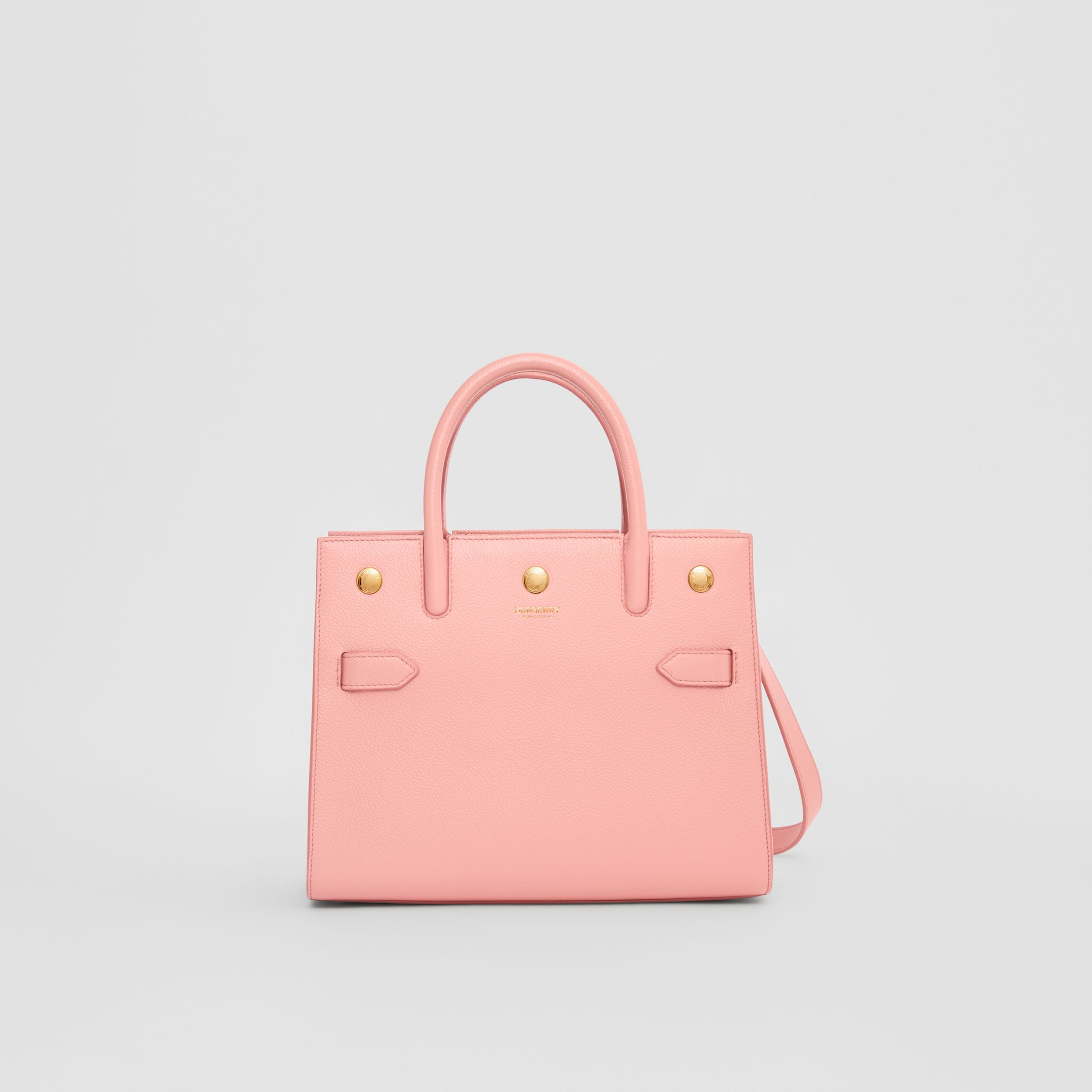 Mini Leather Two-handle Title Bag in Blush Pink - Women | Burberry - 1