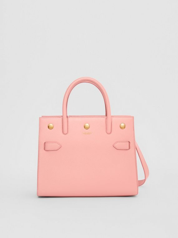 Borsa Title mini in pelle con due manici (Rosa Fard)