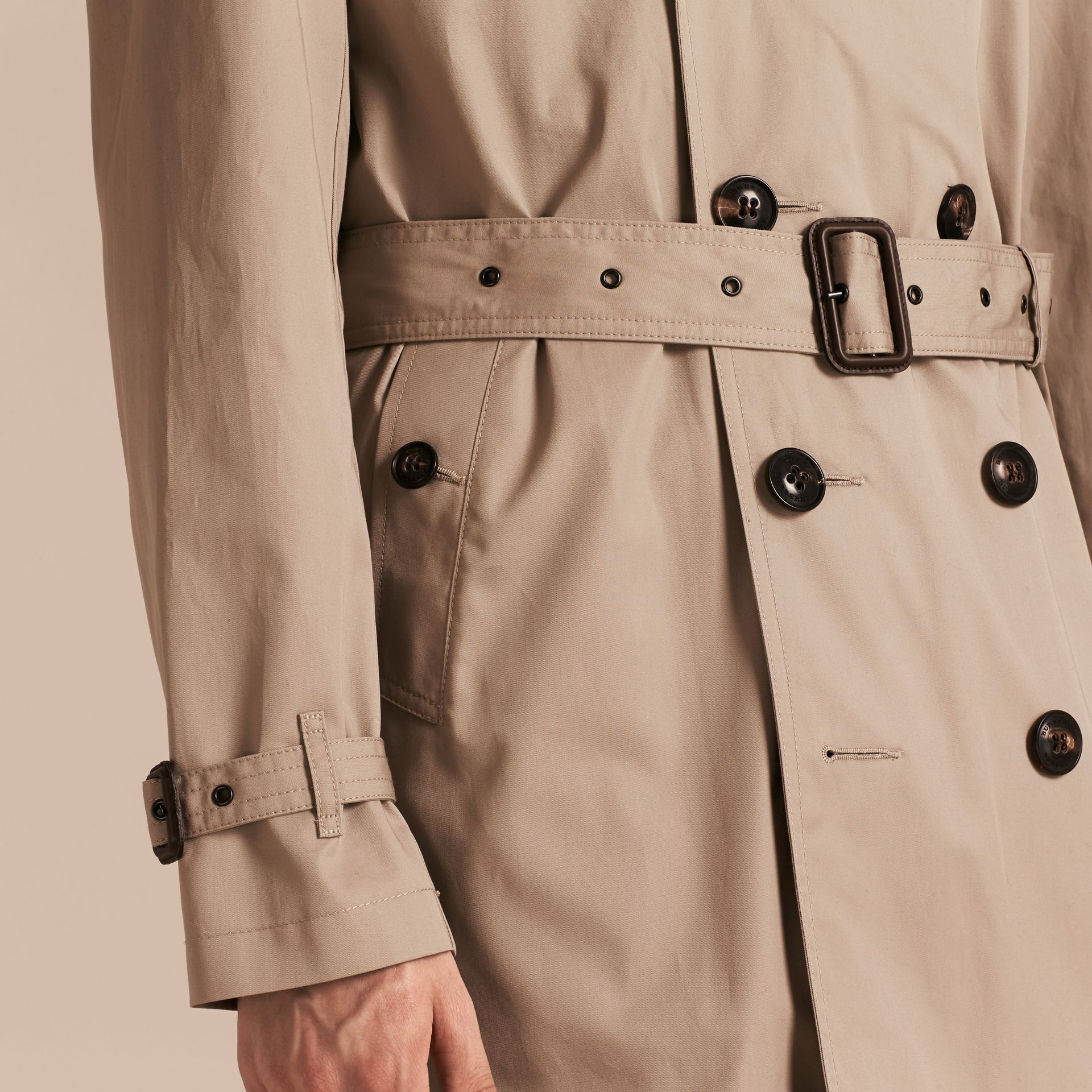 Taupe Cotton Trench Coat with Detachable Hood Taupe - gallery image 5
