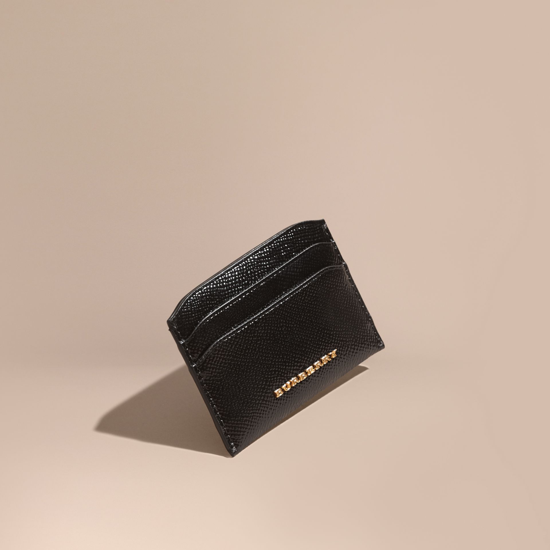 Black Check and Leather Card Case - gallery image 1