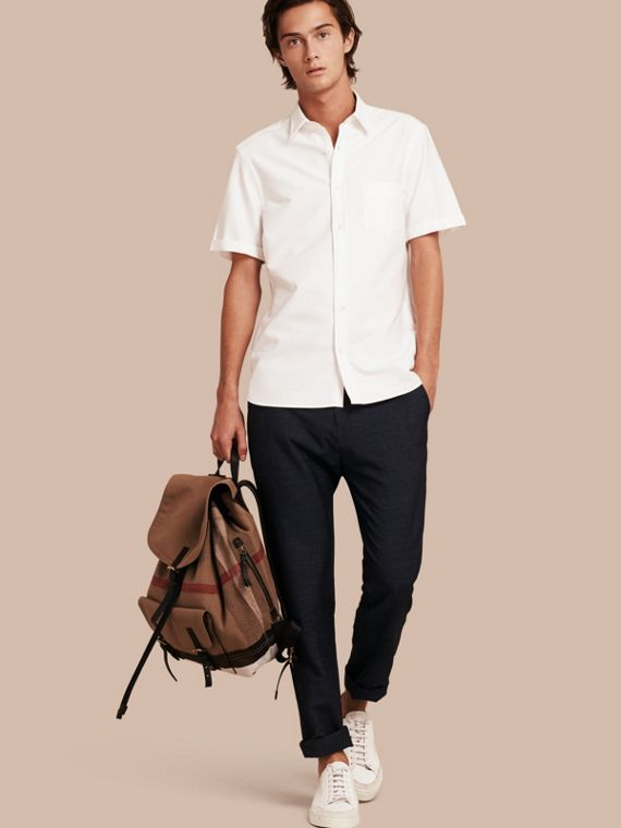 Check Detail Short-Sleeved Cotton Oxford Shirt White