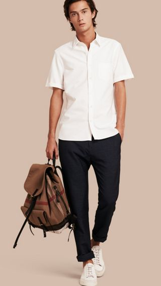 Check Detail Short-Sleeved Cotton Oxford Shirt