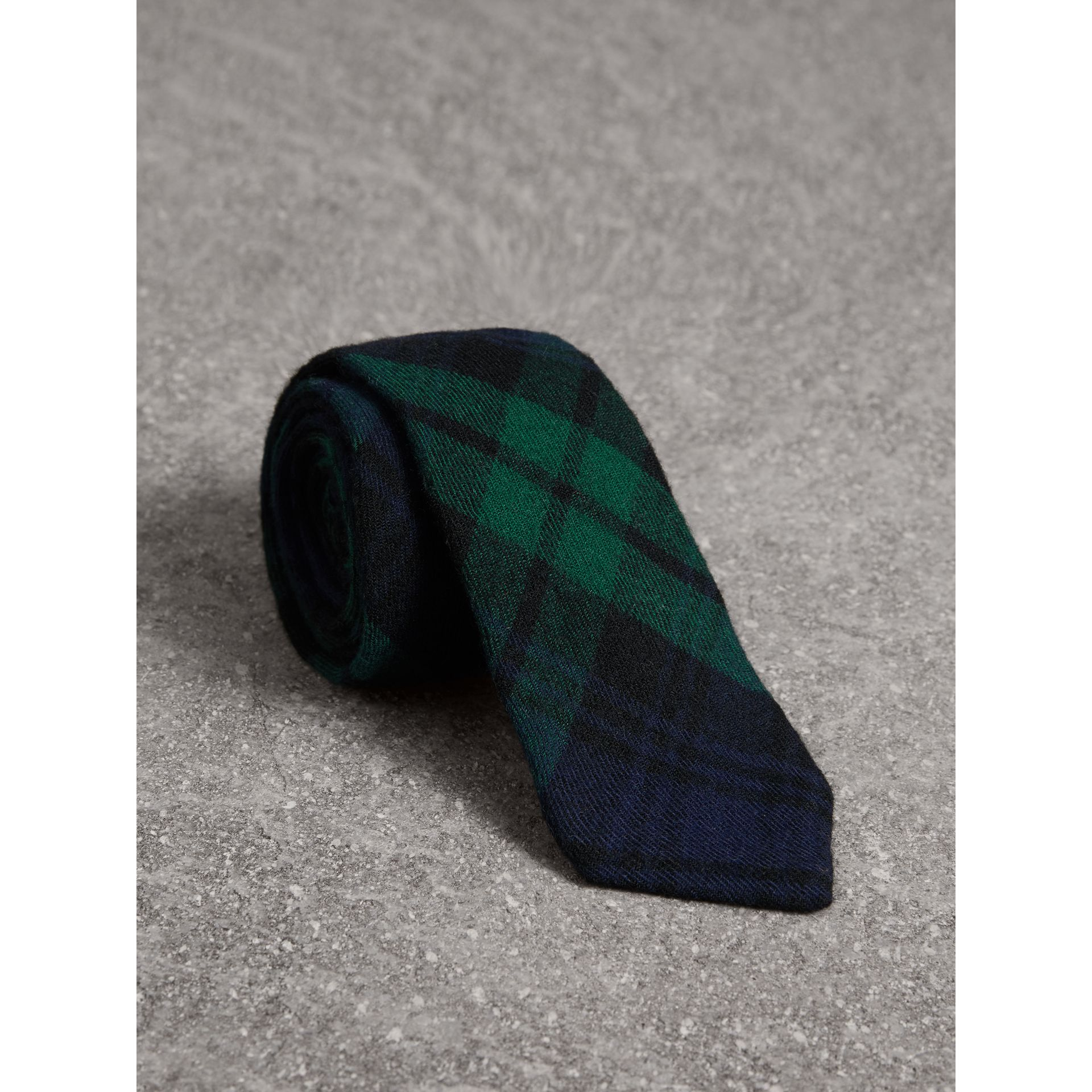 Slim Cut Tartan Wool Flannel Tie in Navy - Men | Burberry - gallery image 0