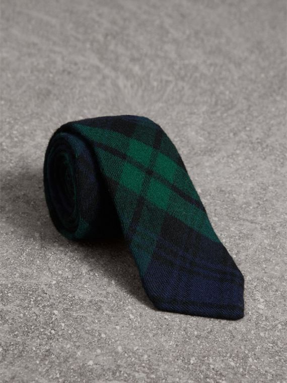 Slim Cut Tartan Wool Flannel Tie in Navy