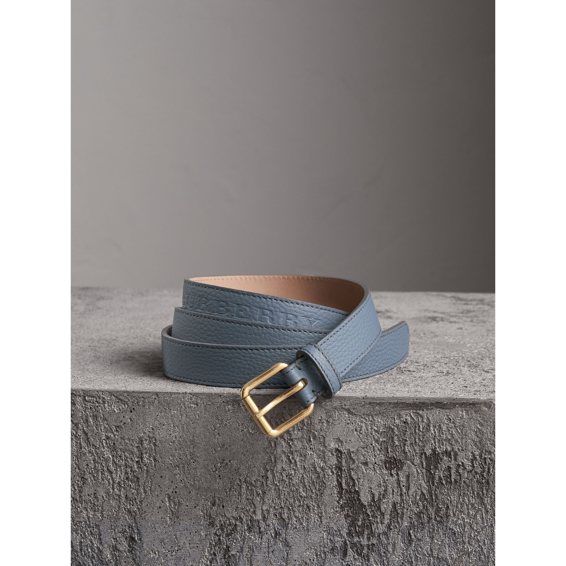 Embossed Leather Belt in Dusty Teal Blue - Women | Burberry Australia - gallery image 0