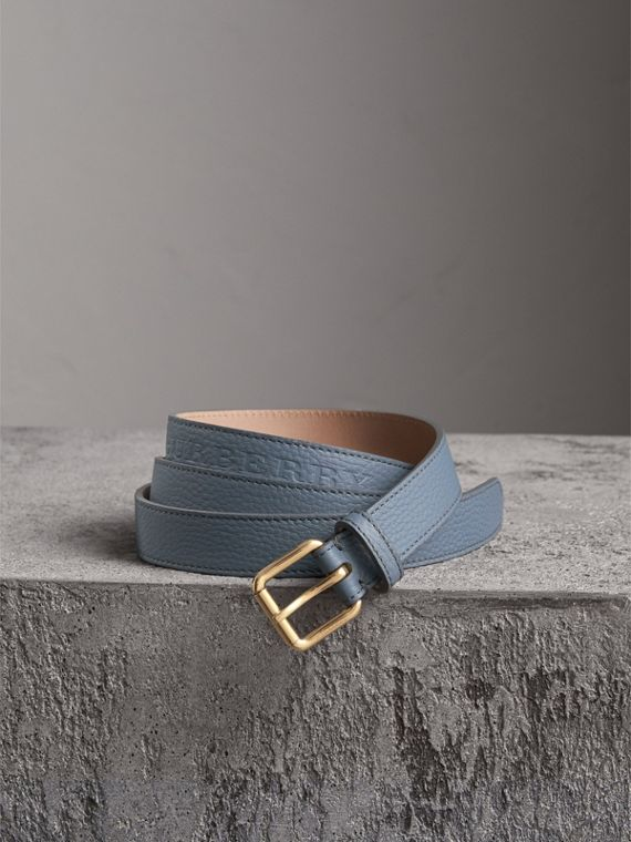 Embossed Leather Belt in Dusty Teal Blue