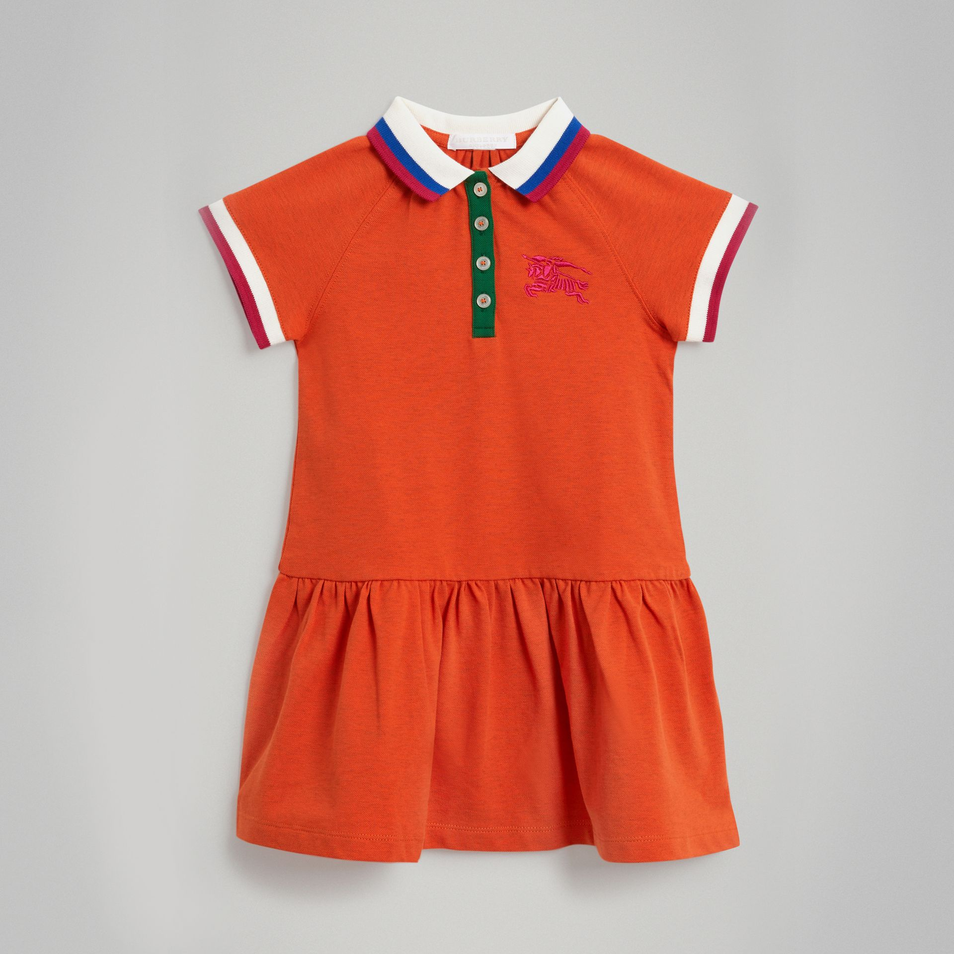 Stretch Cotton Polo Dress in Bright Clementine Melange - Girl | Burberry - gallery image 0