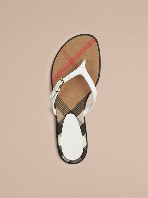 House Check and Leather Sandals - Women | Burberry - cell image 2