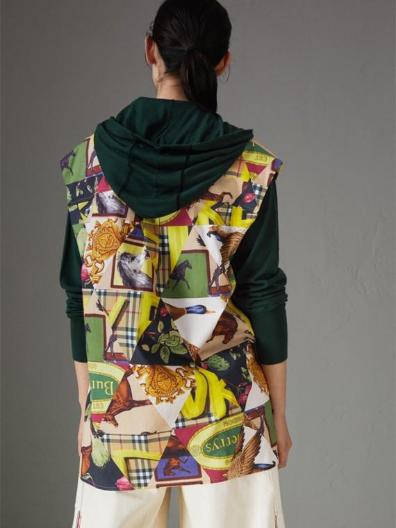 Camicia smanicata in cotone stretch con motivi d'archivio (Giallo Intenso) - Donna | Burberry - cell image 2