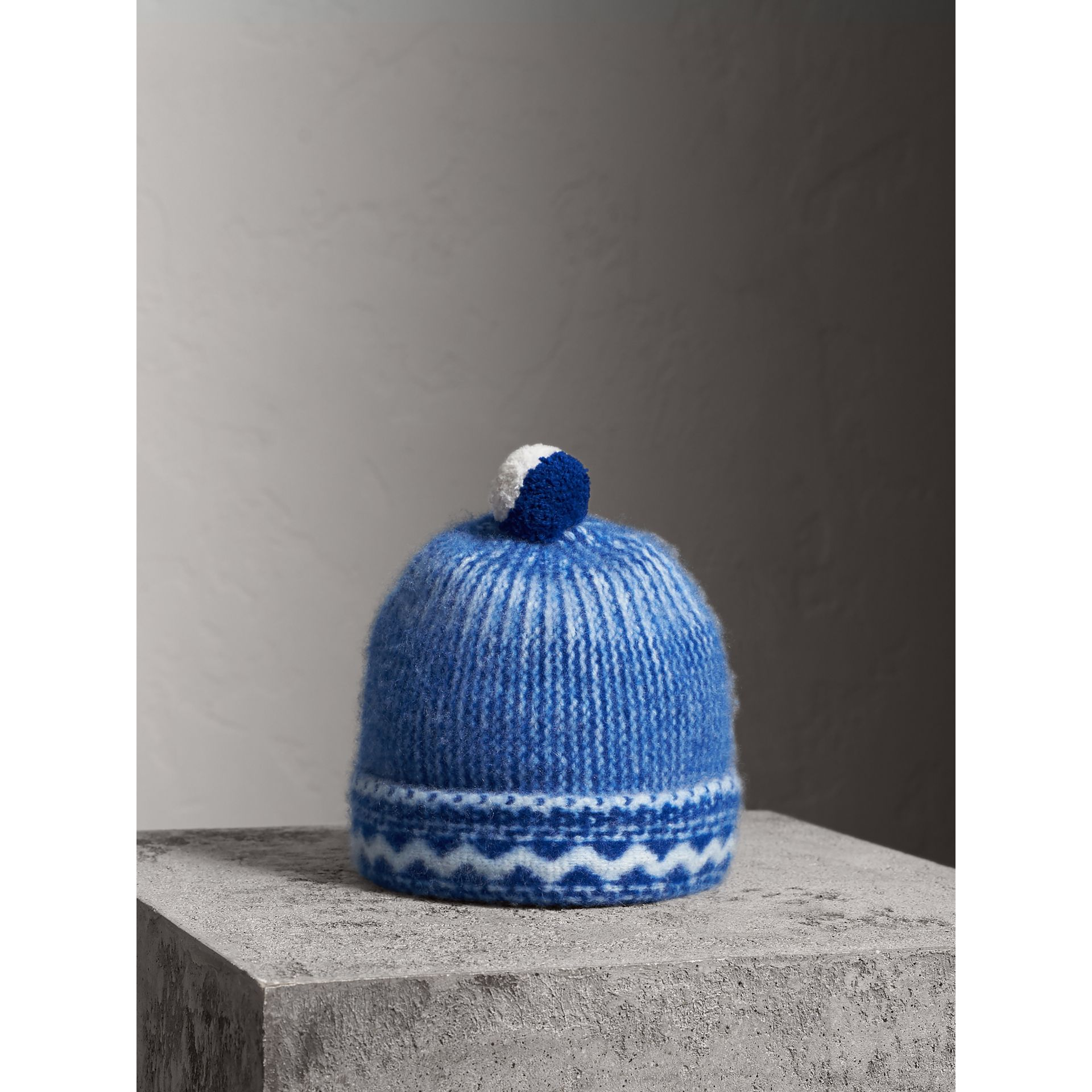 Pom-pom Fair Isle Cashmere Beanie in Cobalt Blue - Women | Burberry - gallery image 0
