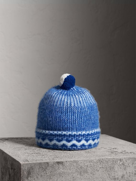 Bonnet en cachemire à motif Fair Isle et pompon (Bleu Cobalt)