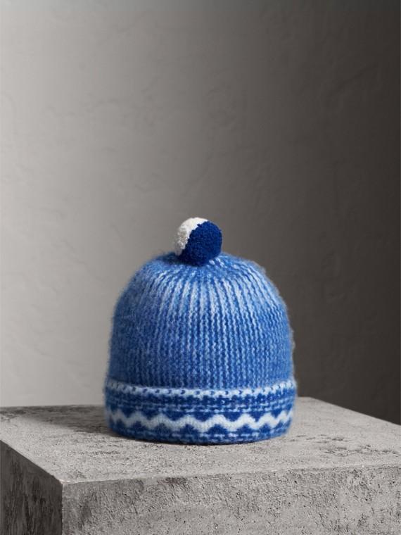 Gorro en cachemir con motivo Fair Isle y pompón (Azul Cobalto)
