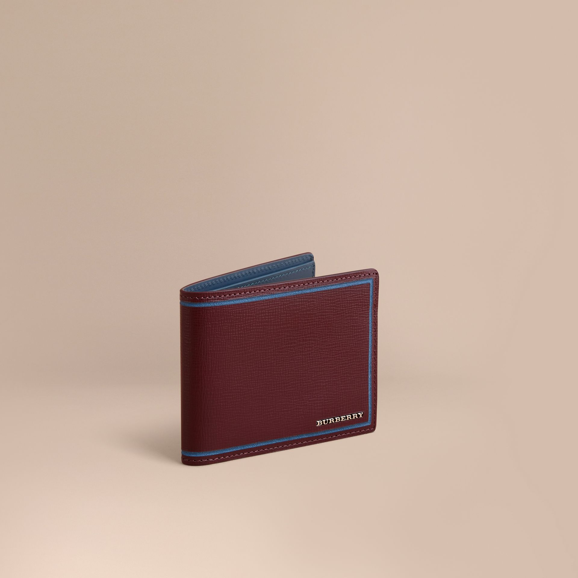 Border Detail London Leather Folding Wallet Burgundy Red - gallery image 1