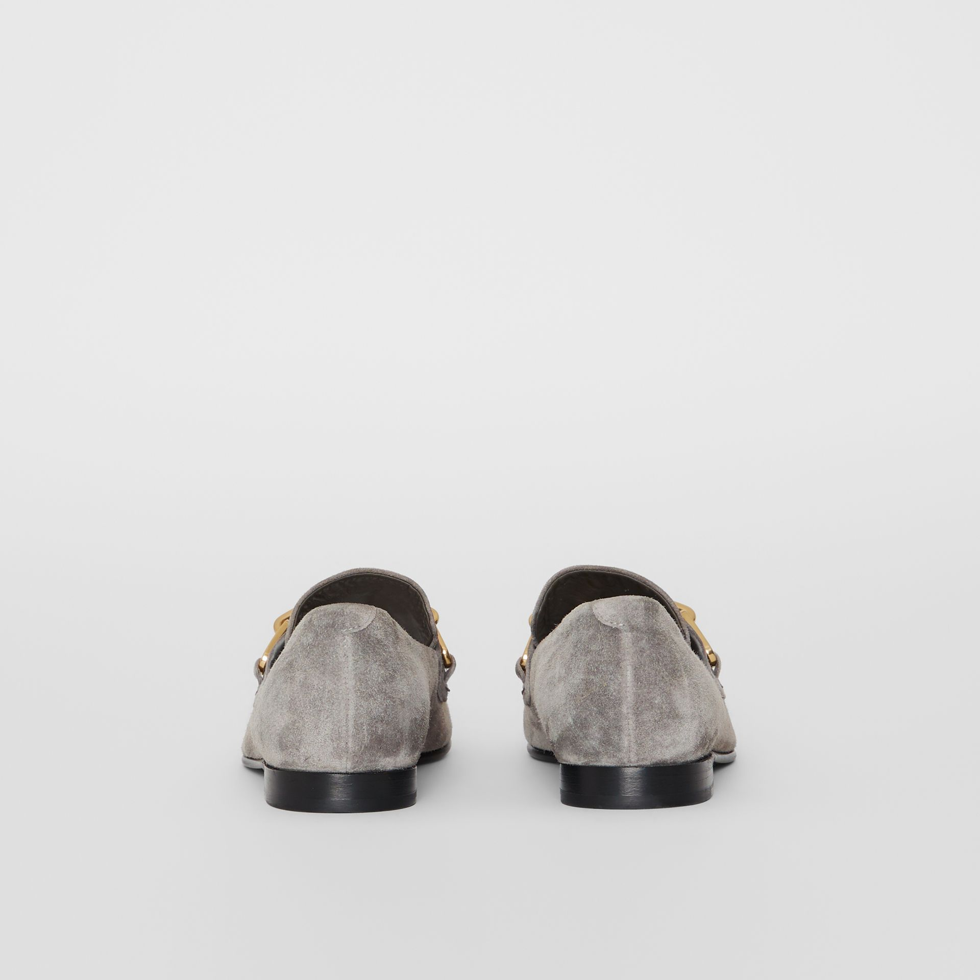 Link Detail Suede Loafers in Smokey Grey - Women | Burberry - gallery image 4