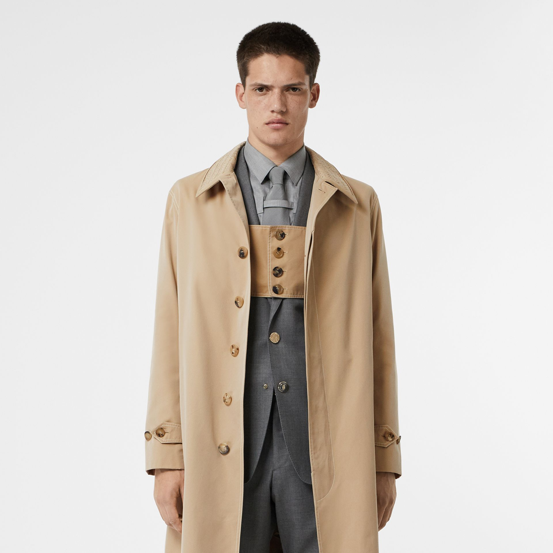 Linen Collar Button Panel Cotton Car Coat in Honey | Burberry Australia - gallery image 7