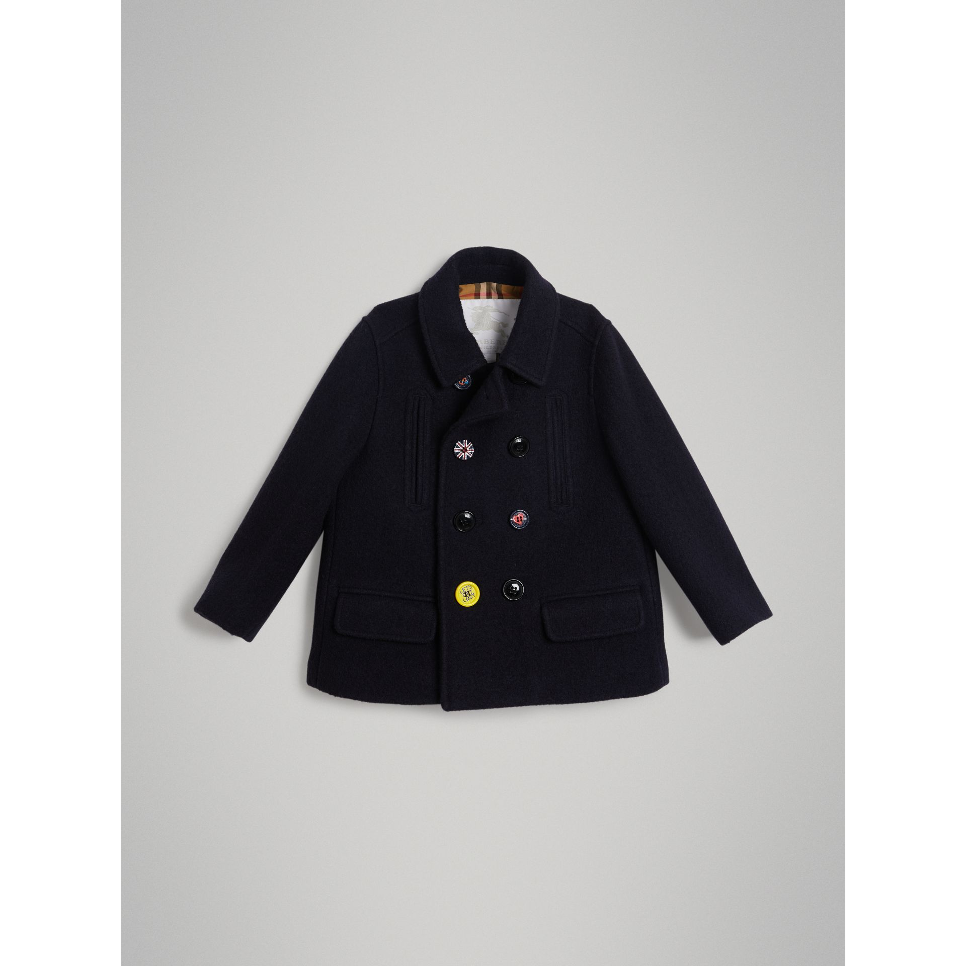 Painted Button Wool Pea Coat in Navy - Boy | Burberry - gallery image 0