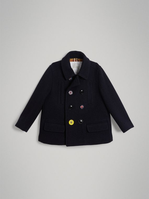 Painted Button Wool Pea Coat in Navy