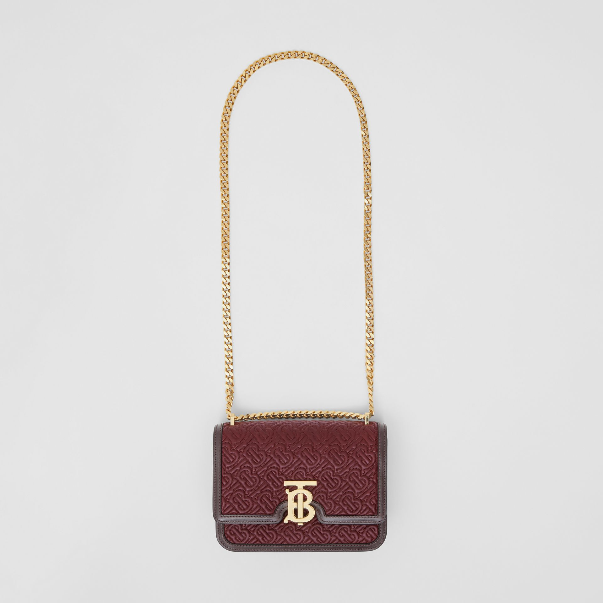 Small Quilted Monogram Lambskin TB Bag in Dark Burgundy - Women | Burberry - gallery image 3