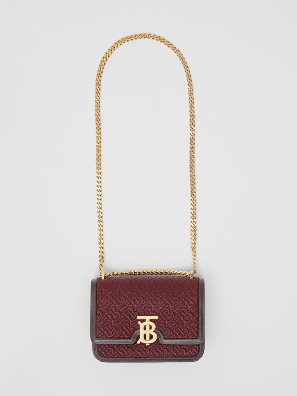 Small Quilted Monogram Lambskin TB Bag in Dark Burgundy - Women | Burberry - cell image 3