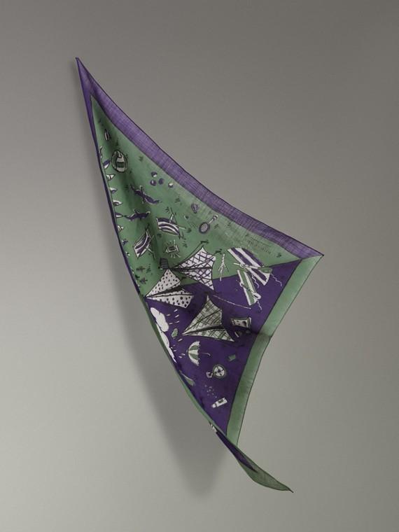 Écharpe en coton avec imprimé pique-nique (Violet Régence)
