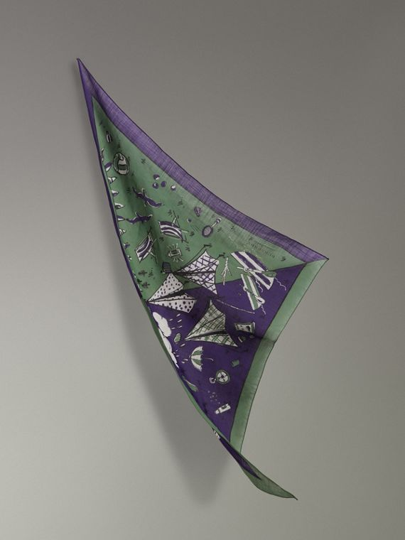 Pañuelo en algodón con estampado de pícnic (Púrpura Regencia)