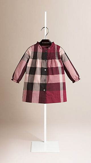 Vestido xadrez de algodão com detalhe franzido
