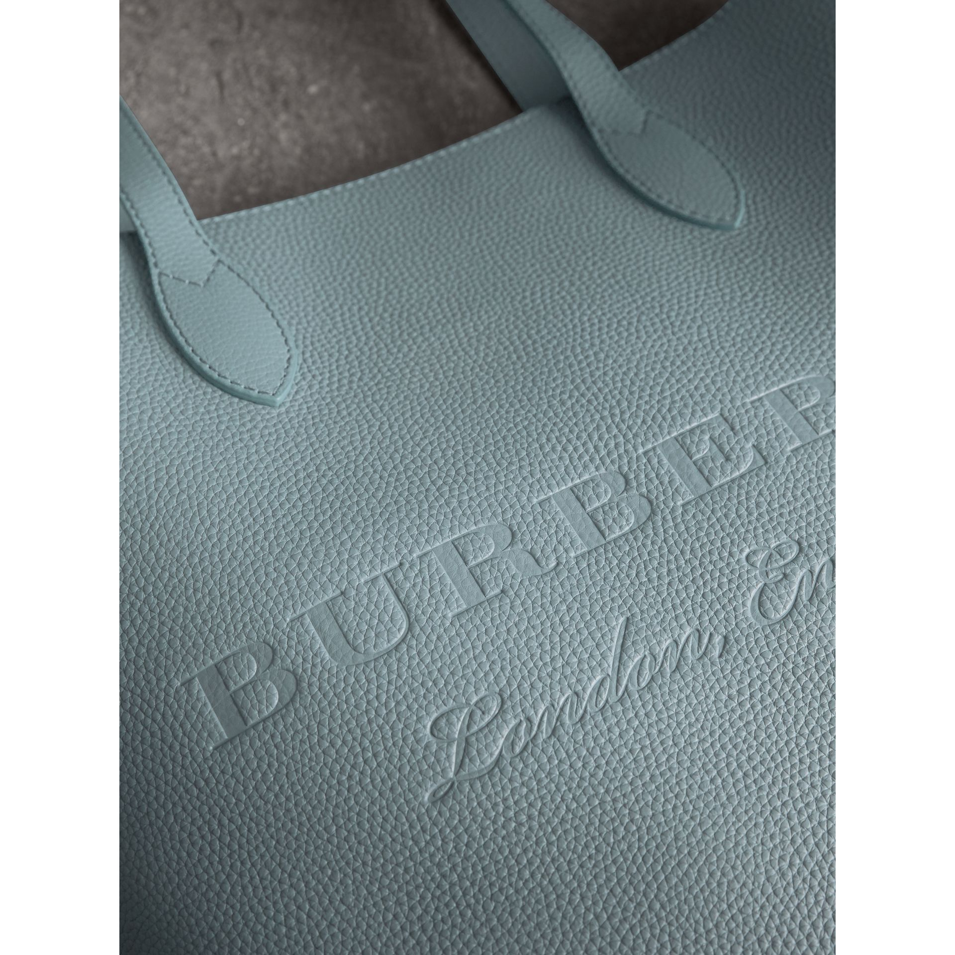 Embossed Leather Tote in Dusty Teal Blue | Burberry - gallery image 1